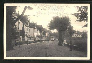 AK Hanau, Frankfurterlandstrasse mit Strassenbahn