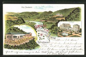 Lithographie Rellinghausen a. d. Ruhr, Gasthaus zur schwarzen Lene, Villa Hügel