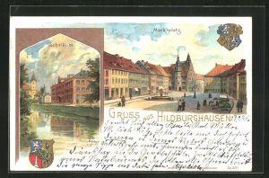Lithographie Hildburghausen, Blick auf Marktplatz und Technikum, Wappen