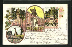 Lithographie Görlitz, Kaiser Wilhelm I. Denkmal, Kaiser Friedrich Denkmal und Jakob Böhme Denkmal