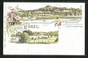 Lithographie Werden, Gasthaus Restauration L. Führkötter, Ortspartie mit Villa Hügel und Station Hügel, Teilansicht