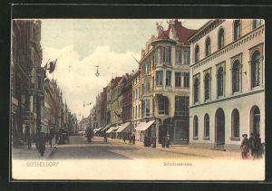 AK Düsseldorf, Schadowstrasse mit Passanten