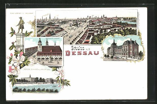 Lithographie Dessau, Erbprinzl. Palais, Grosser Markt, Fürst Leopold-Denkmal