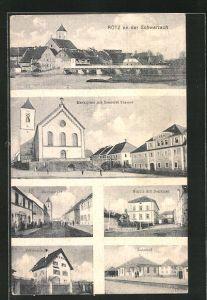 AK Rötz an der Schwarzach, Teilansicht, Marktplatz mit Brauerei Thamer, Hauptstrasse, Forsthaus