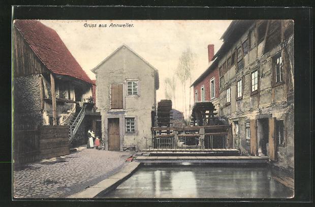 AK Annweiler, Ortspartie an der Wassermühle 0