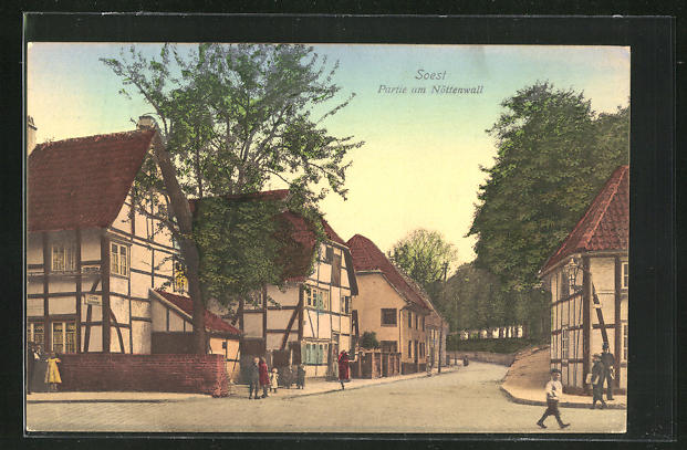 AK Soest, Strasse am Nöttenwall mit Passanten