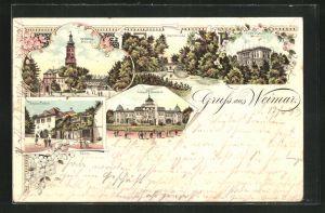 Lithographie Weimar, Sternbrücke, Schloss Belvedere, Residenz-Schlossq