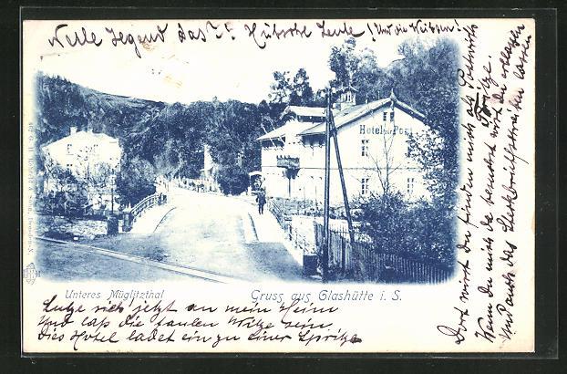 AK Glashütte i. S., Unteres Müglitzthal mit Hotel zur Post