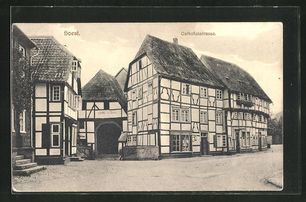 AK Soest, Fachwerkbauten in der Osthofenstrasse