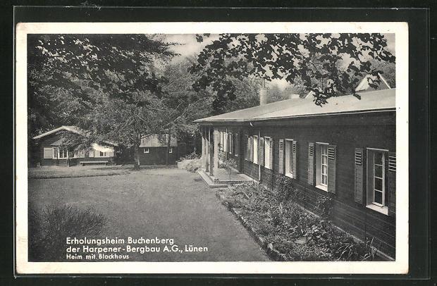 AK Lünen, Teilansicht Erholungsheim Buchenberg, der Harpener-Bergbau A.G. Heim mit Blockhaus