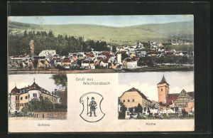 AK Wächtersbach, Totalansicht mit Umgebung, Schloss, Kirche, Wappen