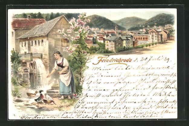 Lithographie Friedrichroda, Bäuerin füttert Enten an der Wassermühle, Teilansicht 0