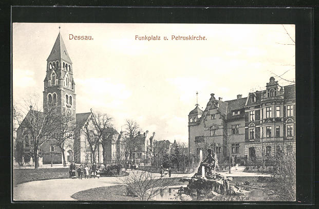 AK Dessau, Funkplatz und Petruskirche