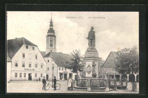 AK Schönberg O / L., Am Marktplatz mit Gasthof zum Adler