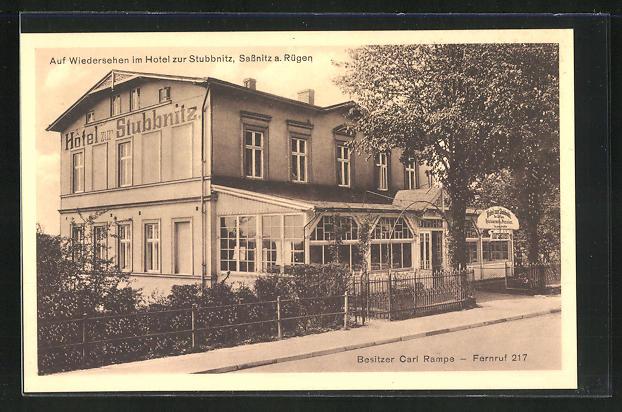 AK Sassnitz a. Rügen, Hotel zur Stubbnitz von Carl Rampe