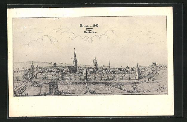 Künstler-AK Unna, Historische Ansicht um 1650, gesehen von Nordosten
