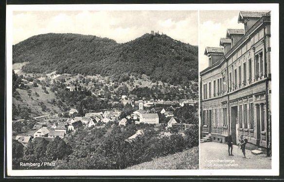 AK Ramberg / Pfalz, Kinder an der Jugendherberge St. Albertusheim, Panorama
