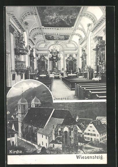 AK Wiesensteig, Innen- und Aussenansicht der Kirche