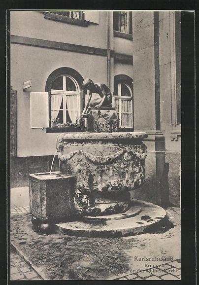 AK Karlsruhe i. B., Brunnen an der kleinen Kirche