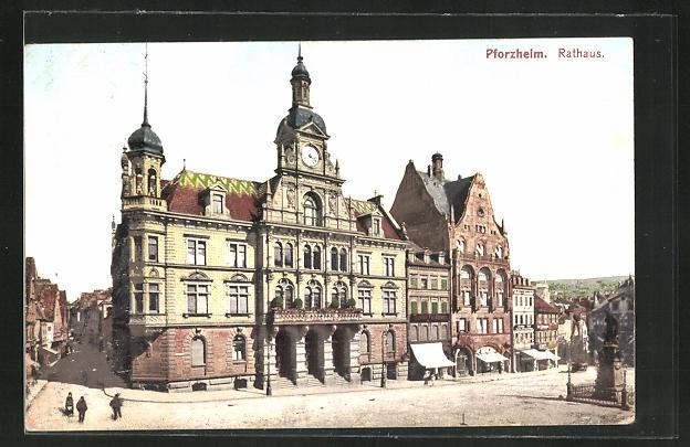 AK Pforzheim, Rathaus mit Umgebung, Geschäfte, Bevölkerung