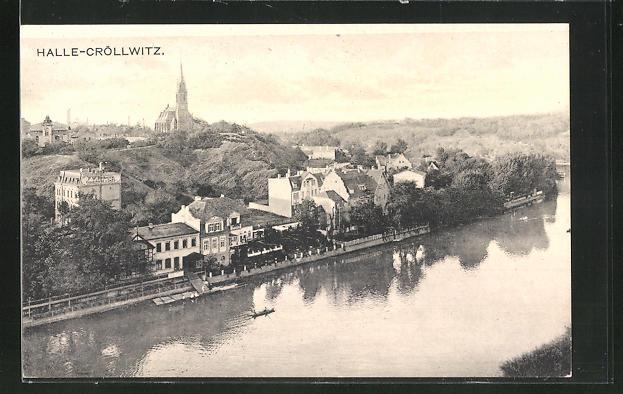 AK Hall-Cröllwitz aus der Vogelschau mit Fluss und Ruderboot, Kirche