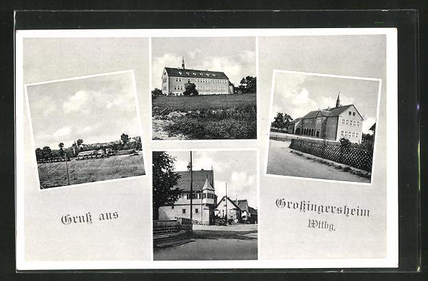 AK Grossingersheim, Teilansichten, mit Umgebung