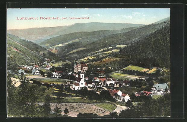 AK Nordrach, Totalansicht mit Kirche und Berge