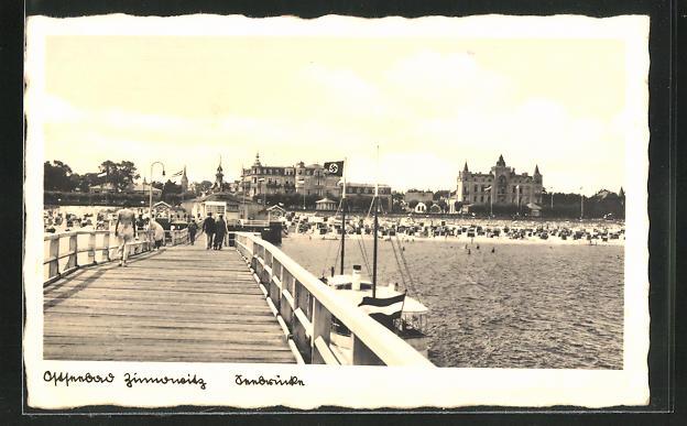 AK Zinnowitz, Seebrücke mit Strand