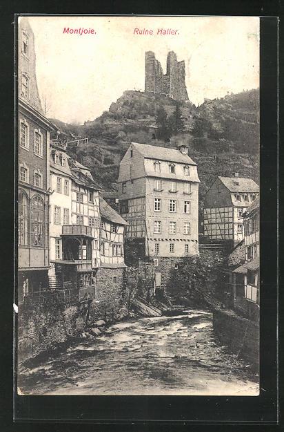 AK Montjoie, Ortsansicht auf Ruine Haller, Laufenbach mit Häuser
