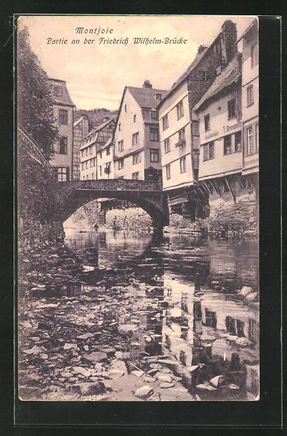 AK Montjoie, Ortsansicht mit Partie an der Friedrich Wilhelm-Brücke und Laufenbach