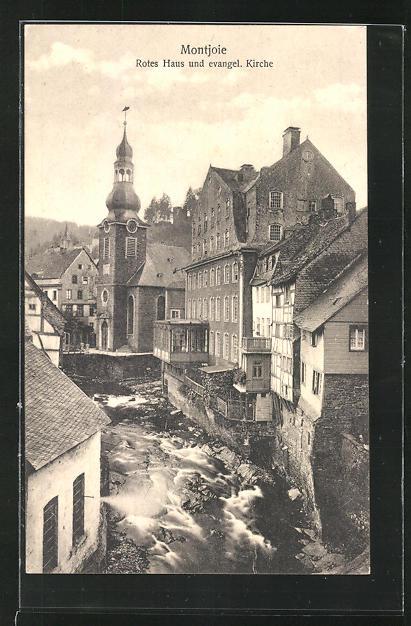 AK Montjoie, Ortsansicht auf Rotes Haus und evangel. Kirche, Laufenbach, und Häuserfassaden