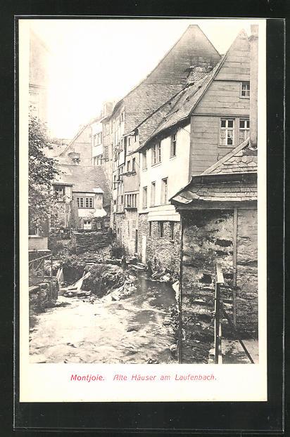 AK Montjoie, Ortsansicht auf alte Häuser am Laufenbach