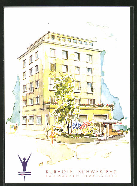 AK Bad Aachen, Teilansicht Kurhotel Schwertbad