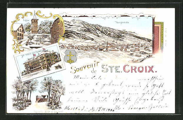 Winter-Lithographie Ste. Croix, Grand Hôtel, Roche du Mont B., Eglise