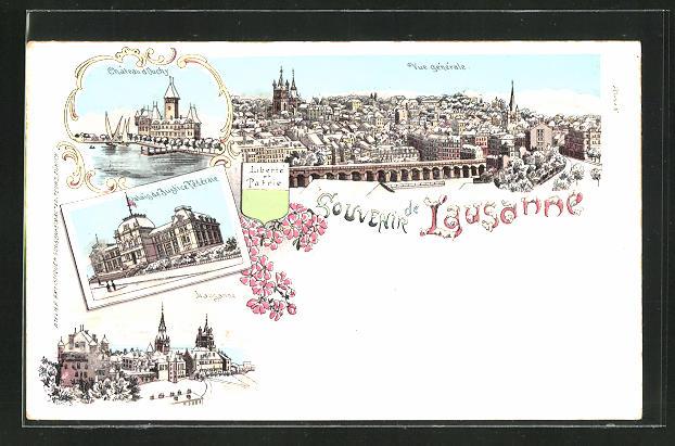 Winter-Lithographie Lausanne, Palais de Justice Fédérale, Château d'Ouchy