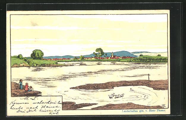 Künstler-AK Hans Thoma: Landschaft am Fluss