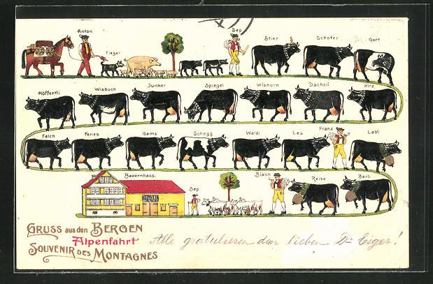 AK Bauer führt seine Kühe zum Melken zurück auf den Bauernhof