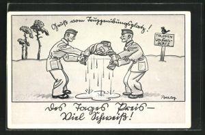 Künstler-AK Ferdinand Barlog: Soldaten wringen eine Uniformjacke aus,