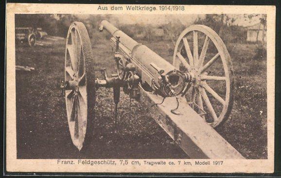 AK Artillerie, Französisches Feldgeschütz 7,5 cm, Modell 1917