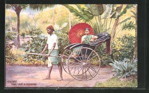 AK Colombo / Sri Lanka, Frau wird in einer Rikscha gefahren