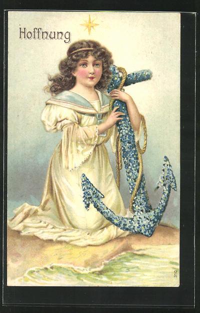 Präge-AK Hoffnung, Engel mit Blütenanker, Allegorie