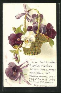Künstler-Lithographie Clara von Sivers: Korb voller Stiefmütterchen