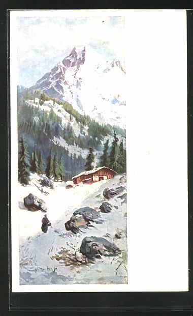 Künstler-AK August Splitgerber: Alpenidyll mit Holzhaus