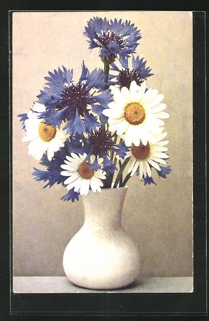 AK Vase mit Kornblume und Käseblume
