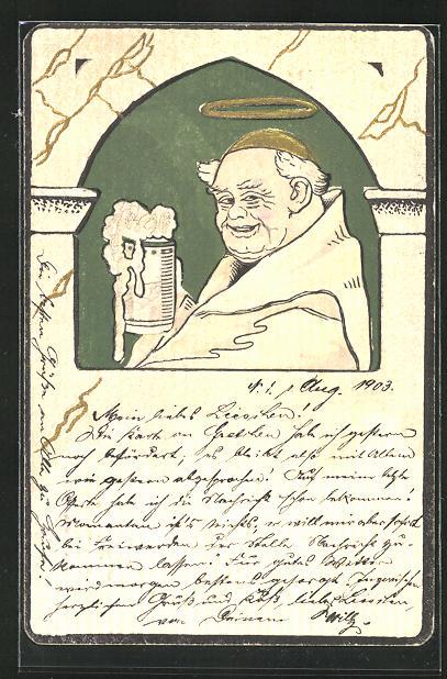 Präge-AK Mönch mit Heiligenschein und Bier
