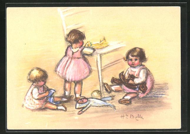 Künstler-AK sign. Henriette Bolle: Kinder mit Puppen