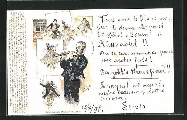 Künstler-AK Fritz Reiss: Paare tanzen in Schwarzwälder Tracht, Mann mit Klarinette