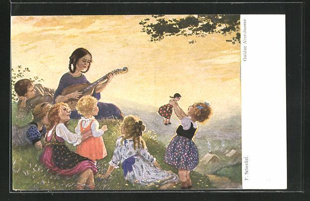Künstler-AK Franziska Schenkel: Frau musiziert mit Kindern auf der Wiese