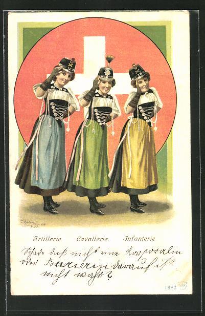 AK Schweizer Frauen in Tracht mit Hüten der Artillerie, Cavallerie und Infanterie, Flagge