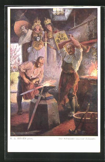 Künstler-AK Rudolf Alfred Höger: Germanenkult, Hindenburg und Hötzendorf in der Schmiedewerkstatt
